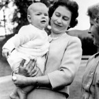 Elizabeth had two children before she ascended to the throne, and had two more while monarch. Here she is with her baby Prince Andrew in 1960.
