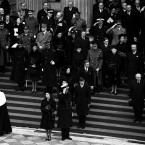 Having taken an active role in state business during World War II and afterwards, the Queen became close to Sir Winston Churchill. Here she is attending his state funeral at Westminster Abbey.