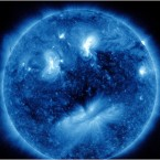 NASA says that several active regions viewed in extreme UV light have coincidentally formed a face without any re-arranging of the image. (NASA/the Solar Dynamics Observatory)