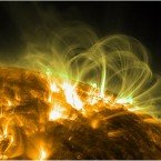 Looping magnetic fields on the sun's surface. (NASA/the Solar Dynamics Observatory)
