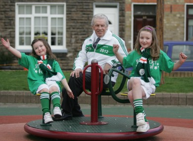 John Giles at Ormond Square in Dublin this morning where he was unveiled as the parade Grand Marshal