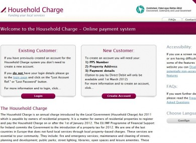 The homepage of the householdcharge.ie website
