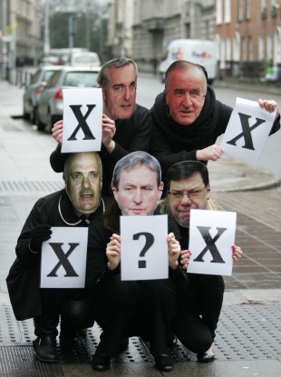 Members of Action on X Alliance pictured outside the Dáil earlier this month protesting at successive government failure to legislate for the X case