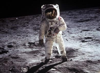 The Apollo 11 crew explore the moon's Sea of Tranquility.