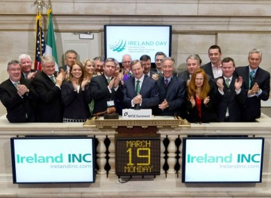 Enda Kenny ringing the opening bell at the NYSE last week. Denis O'Brien appears third from the left