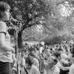 Jane Fonda address a crowd at New York's Dag Hammarskjold Plaza Sunday in 1981 (Ari Mintz/AP/Press Association Images)