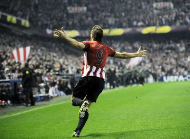 Llorente celebrates the opener.