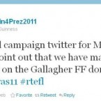 This is the tweet from the OFFICIAL Martin McGuinness presidential campaign account, denying links to an earlier tweet about Seán Gallagher and a Fianna Fáil fundraiser from an account called @McGuinness4Pres which was read out on an RTÉ Frontline #aras11 candidates' debate. And we're still talking about it.