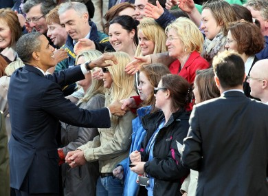 US President Barack Obama meets members of the public in College Green in Dublin last year