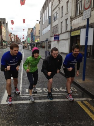 Brian Maher (left) and Mike Sheridan (right) are joined by supporters for part of the run.