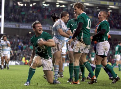 Gordon D'Arcy celebrates international try number seven against Argentina in 2010