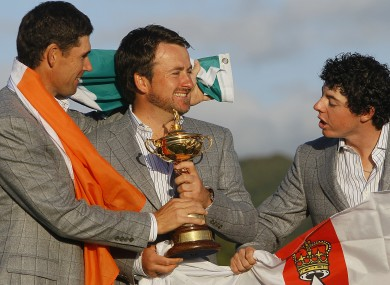 The trio of Harrington, McDowell and McIlroy after the 2010 Ryder Cup win