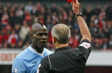 Balotelli apologises for getting himself sent off against Arsenal