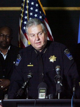 Tulsa police chief Chuck Jordan at a press conference following the shootings