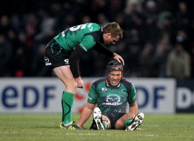 Connacht captain Gavin Duffy gives Ray Ofisa a pat on the head