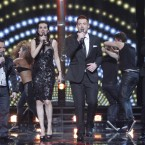 Richie Hayes, Vanessa Whelan, Pat Byrne and Jim Devine perform a group number during the final