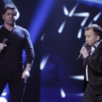 Richie Hayes with Brian Kennedy during the Voice of Ireland Final in The Helix