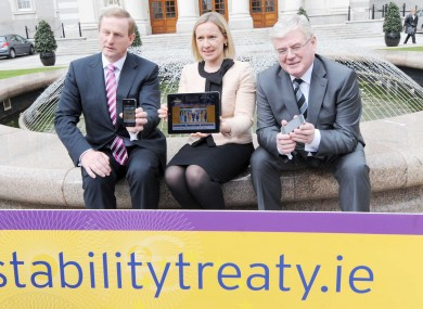 Enda Kenny, Lucinda Creighton and Eamon Gilmore at the launch of the Government's online campaign.