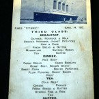 An original Titanic third class menu postcard. The menu details the meals available on April 14, 1912. (AP Photo/Chitose Suzuki)