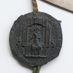 This is a rare surviving example of the wax impression or cast of the great seal of Ireland, which was used by the kings of England to authenticate Irish chancery letters written in their name.