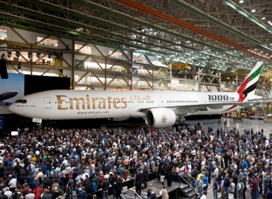 Emirates takes delivery of Boeing's 1,000th Boeing 777 during a special event at the manufacturer's plant in Everett, Washington State