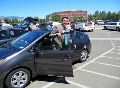 Nevada Governor Brian Sandoval takes a spin in a driverless car