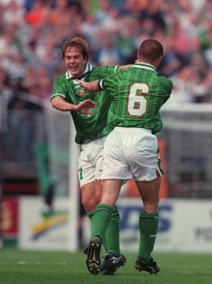 McAteer and Keane celebrate a goal against Croatia.