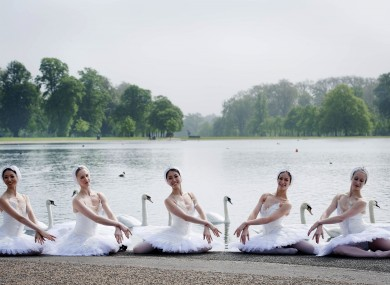 English National Ballet dancers launch the celebrity art auction as part of The Summer Party at The Orangery at Kensington Palace in London earlier this week.