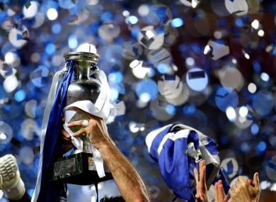 Greece's Theodoras Zagorakis lifts the European Cup trophy in 2004.