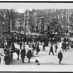 People gather for a suffrage parade in the city. Image taken between 1905 and 1912.  (Library of Congress, Prints & Photographs Division)