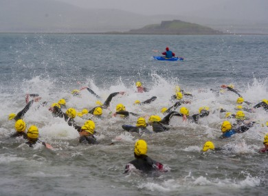Swimmers set out on the triathlon at Valentia Island la