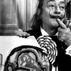 Artist Salvador Dali unveils one of his new paintings. (PA images)