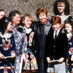 Raisa Gorbachev poses with the Nolan School of Dancers during her visit to the Bunratty Folk Park near Shannon, April 2, 1989. The Gorbachevs paid a two hour visit to Ireland en route to Cuba.   Image: AP Photo
