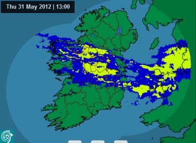Met Éireann's rainfall radar at 1pm showed quite a bit of wet weather -