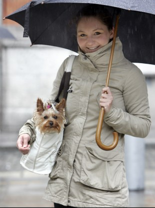 Judyta Kosmowska and her dog 'Coca' try to keep dry while walking through the rain in Temple Bar in Dublin today