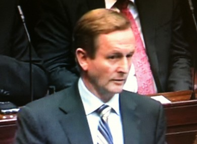 Enda Kenny speaking in the Dáil today.