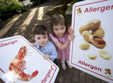 Emily Bolton, 4, from Castleknock in Dublin and Alex Conefrey, 2, from Bray in Co Wicklow help launch the FSAI audit today.
