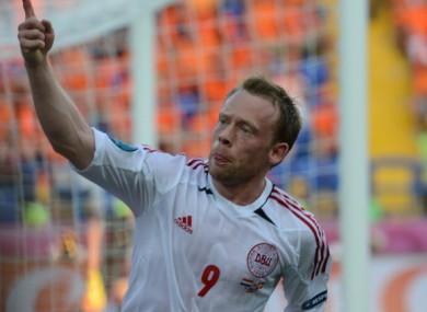Krohn-Dehli celebrates scoring on Saturday.