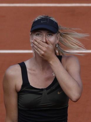 Sharapova reacts to winning her semi final match against Petra Kvitova of the Czech Republic yesterday.