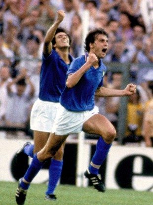 Marco Tardelli scores in the '82 World Cup final.
