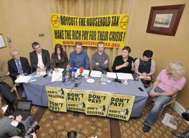 A selection of TDs opposing the household charge - including Thomas Pringle, Joan Collins and Mick Wallace - attend a press event earlier this year.