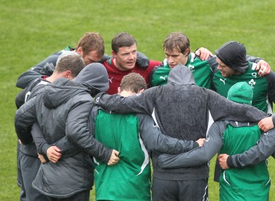 Brian O'Driscoll rallies the troops at Friday's Captain's Run.