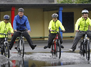 Junior Transport Minister Alan Kelly launching National Bike Week with some boys from Our Lady of Victories Boys' NS on Ballymun Road.