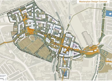 A computer-generated image of the redevelopment of Grangegorman to include the new DIT campus that was announced by the previous government.