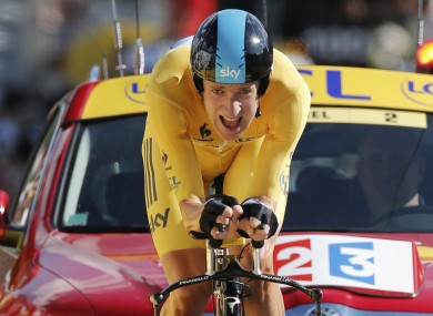 Bradley Wiggins pushes hard in the final 100 metres of Monday's stage.
