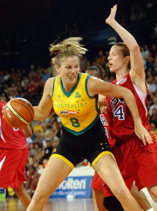 Hollie Grima of the Australian Opals competes against the USA.