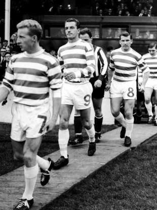 Celtic's Jimmy Johnstone, Steve Chalmers, Joe McBride and Bobby Murdoch take to the field in 1966.