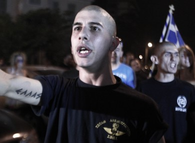 Supporters of Golden Dawn at a rally