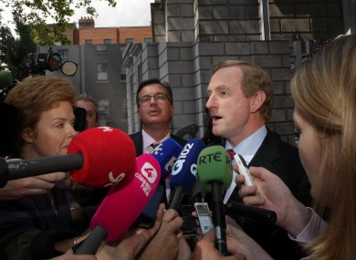The so-called media scrum which resulted in a conduct complaint being lodged. TV3's Ursula Halligan is on the far left.