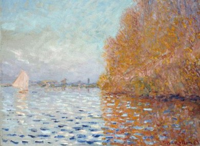 'Argenteuil Basin with a single Sailboat', the Claude Monet painting damaged in last month's incident.